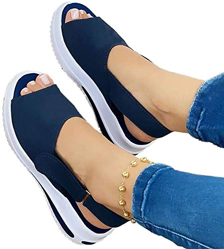 TULADUO Women's Comfy Sports Knit Sandals Thick Bottom Fish Mouth Sandals, Casual Peep Toe Platforms Wedges Sandals Sport Shoes, Product Up-Gradation Comfy Sports Knit Beach Sandals Blue 11