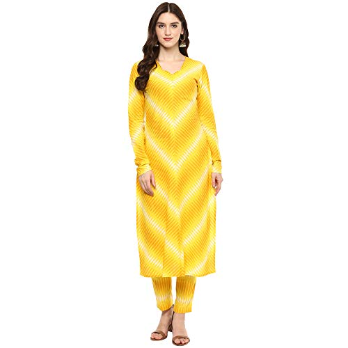 Yellow Colored Cotton Printed Long Kurta With Pant Set