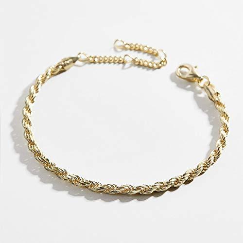 dingtian Pulsera de moda de color dorado con cuerda de cuerda para mujer, punk hip hop, pulseras de metal para fiesta, boda, joyería de regalo