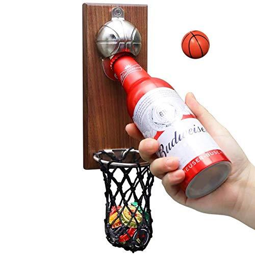 BelonLink Abrebotellas de Pared vintage, Abridor de Botellas de Madera con Estilo Retro, Magnético Gorra de baloncesto banda, abrelatas Colgante y Tenedor de la Tapa (baloncesto)