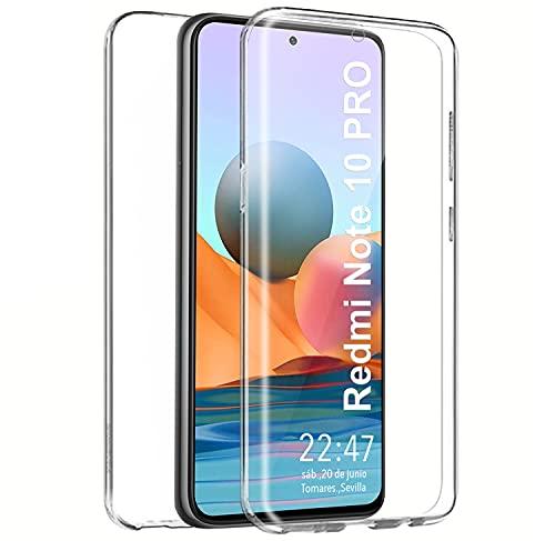 PLANETMOVIL Funda 360 para Xiaomi Redmi Note 10 Pro (6,67 Pulgadas) Carcasa Doble Cara Delantera + Trasera TPU Rigido Dos Partes Máxima Visión Transparente
