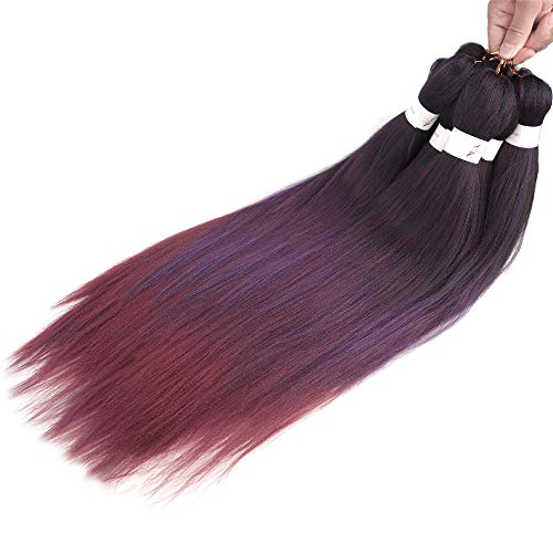 VIOLET Ombre Pre-stretched Braiding Hair 26 inch 7packs/Lot Yaki Texture Synthetic Fiber Easy Braid Crochet Twist Professional Hair Extensions(1B/Purple/Red)