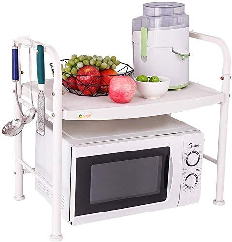 Nfudishpu Mikrowellen-Ständer, Edelstahl-Küchenregal mit 2 Etagen, Mikrowellen-Organizer-Ofenhalter, B