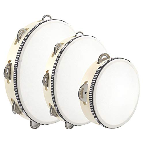 3PCS Tambourines for Adults and Kids Musical Instruments 6quot 8quot 10quot Tambourines Bell Instrument Cahone Drum Hand Held Drum Bell Birch Metal Jingles Percussion for School Party KTV Concert
