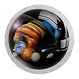 4 tiradores redondos de cristal transparente para cajones con tornillos para cocina, aparador, armario, baño, armario, planetas Júpiter Tierra Saturn