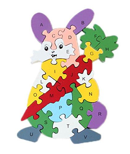 Bigood Puzzle Jouet Enfant Bébé en Bois Alphabet Chiffre Cognition Eveil Lapin Carotte