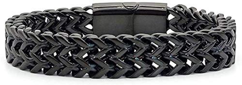 ZYW Pulsera para hombre, cadena trenzada, cierre magnético, acero inoxidable, pulsera para hombre, plata, negro, tono dorado, 18 cm negro