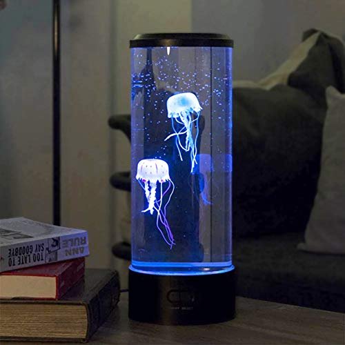 ISAKEN Lava Lamp LED, Quallen Lampe Lavalampe Aquarium Lampe, mit Farbwechselnden Lichteffekten, Dekoration für Home Office Geschenk für Männer Frauen Kinder