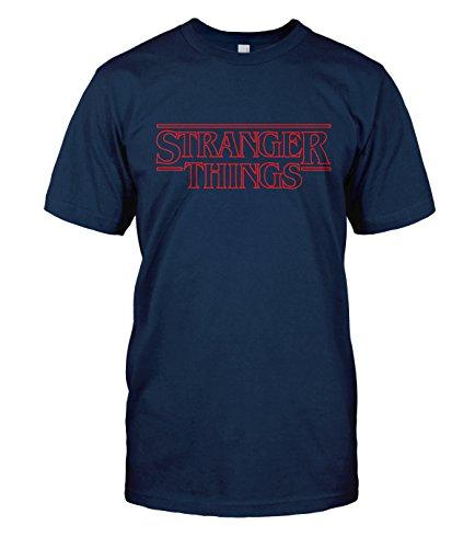 Stranger Things T-Shirt Top Tee (Small, Navy Blue)