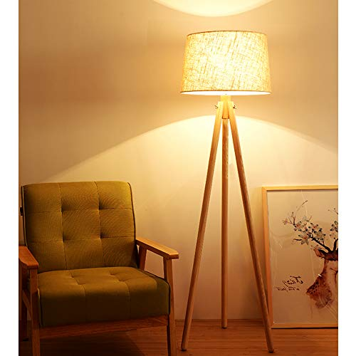 Wooden Led Floor Lamp 3000k Warm White Floor Light,Classic Led Reading Standing Lamp for Living Room, Bedside, Study,Office,Tripod Floor Lamp with E27 Bulb, Beige [Energy Class A+++]