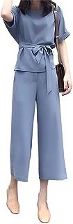 【在庫処分セール】[ニーマンバイ] 半袖 カットソー ワイド パンツ ベルト 付き きれいめ セットアップ 上下 2点 セット レディース オフィス フォーマル M〜3XL