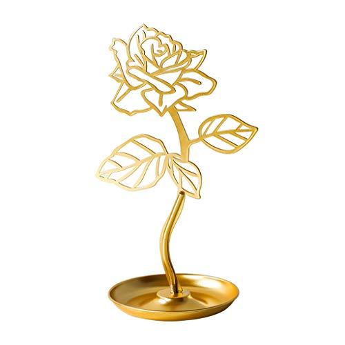 YUTR Bandeja de Almacenamiento de joyería Creativa, Pendientes de joyería en Forma de Rosa Mostrar Anillo de Estante Bandeja Caja de decoración (Color : A)