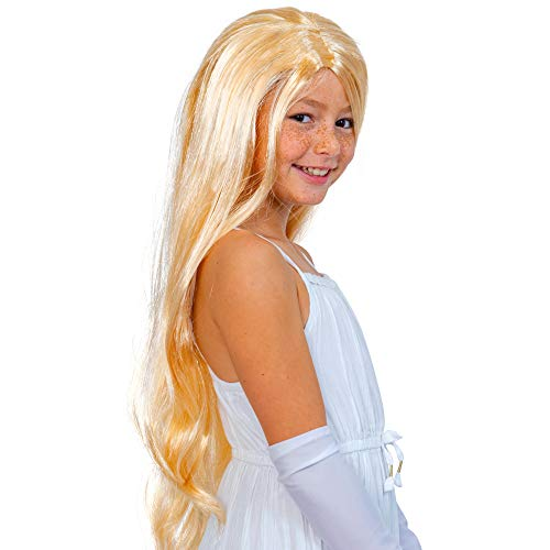 Skeleteen Long Blond Princess Wig - Blonde Kids Pretend Play Costume Accessories Princess Wigs for Children