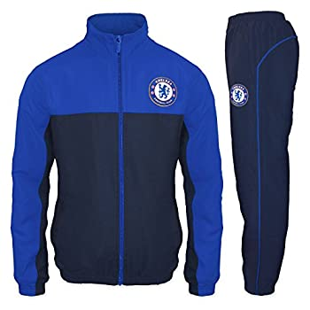 Chelsea FC Official Soccer Gift Mens Jacket & Pants Tracksuit Set Small