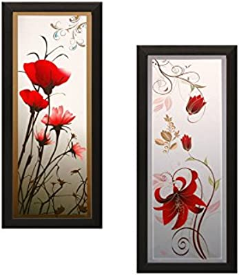SAF Flower Textured UV Print Painting(Set of 2, 18 cm x 2 cm x 40 cm) SANFAD110 SANFAD110