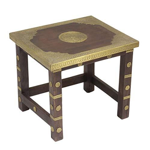 Oriental Galerie Indischer Beistelltisch mit Messing Verzierung Tisch Tischchen Nachttisch Hocker Asien Natur Dunkelbraun Gold TEC-339 Mittel
