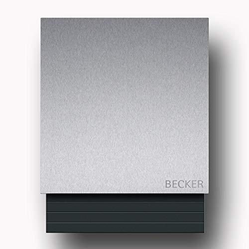Briefkasten Edelstahl B1 Light Steel, moderner Premium Design Wandbriefkasten mit Zeitungsfach inkl. Namensbeschriftung