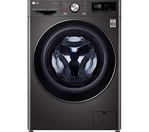 LG TurboWash 360 with AI DD V9 FWV917BTSE WiFi-enabled 10.5 kg Washer Dryer - Black Steel