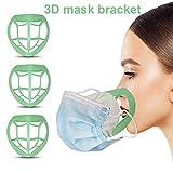 立体 シリコンインナーマスク/マスクフレーム/メイク崩れ防止/マスクブラケット/3dプリント製マスクサポート/通気空間を増やす/洗える/半透明 (10pc/グリーン)