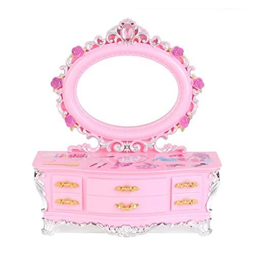 ZXCHB Caja de música Rosa Caja de joyería Caja de Almacenamiento de Regalo con Espejo para niña Caja de Almacenamiento de joyería