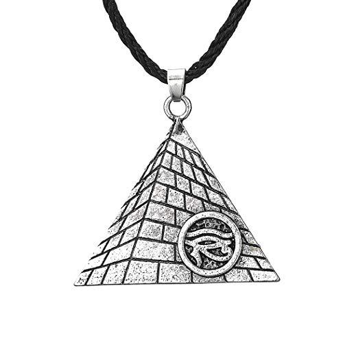 Chereda Collar con colgante de amuleto de ojo egipcio de Horus para las mujeres del mal de ojos egipcios pirámides de los hombres collar de la joyería vikinga