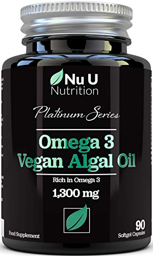 Vegan Omega 3 Rich Algae Oil Capsules with Vitamin E - 1300mg Algae Oil - Vegan DHA from Marine Algae Oil - 90 Omega 3 Softgel Capsules - Vegan and Vegetarian Omega 3