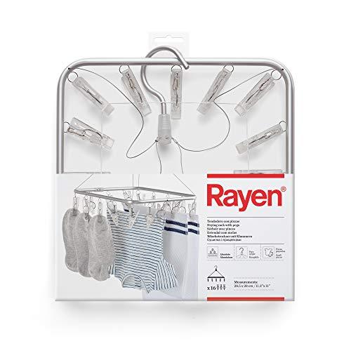 Rayen Pinzas | Tendedero para Colgar | Pequeñas coladas | Apto para Interior y para Exterior, 5 x 28 cm, Aluminio, Gris/Transparente, 28,5x28x39 cm