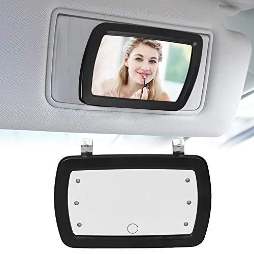 KKmoon - Espejo para coche con visera parasol y seis luces LED