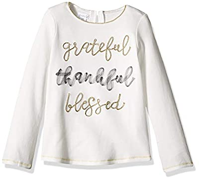 Mud Pie Girls' Little Grateful Thankful Blessed Long Sleeve T-Shirt, Off/White, MD/ 2T-3T