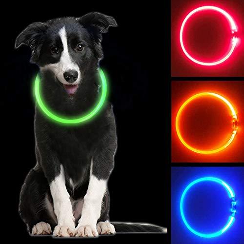MOCOLI Collare Luminoso per Cani, USB Recargable Collars Luminosos para Perro, Ajustable Recargable Impermeable LED Collar, 3 Modos de LED Perro Collar (Verde)