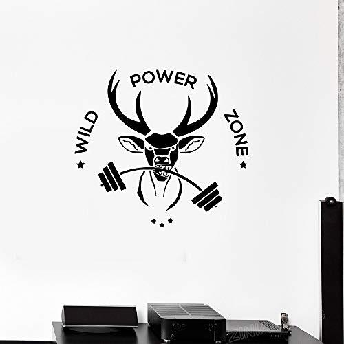 wukongsun Frase de Fitness Deportivo Vinilo Tatuajes de Pared Animal Deer Wild Power Zone Gimnasio Decoración de Pared Pegatina Dormitorio Arte Papel Pintado Negro 88x80cm