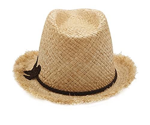 Sombrero Paja Hombre Mujer de Cowboy, Gorro de Vaquero Panamá de Verano con Banda Occidental Unisex