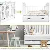 Gitterbett Babybett 2in1 60x120 mit Schublade Schlupfsprossen und Lattenrost Höhenverstellbar Umbaubar zum Juniorbett für Mädchen und Junge - Weiß - 2