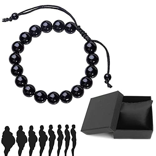 Pulsera Lymphatic Drenaje negro obsidiana – Pulsera de cristal obsidiana negra natural, antipérdida de peso, unisex, 1 unidad