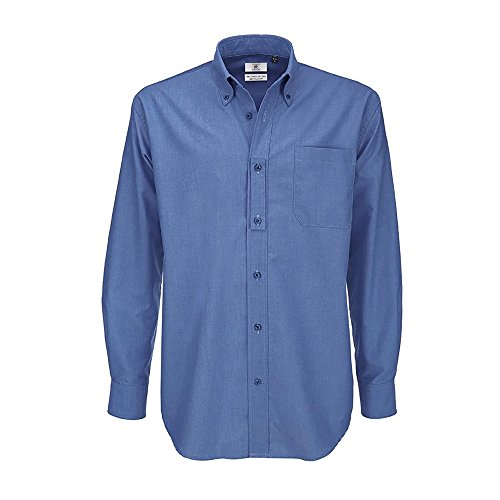 B&C Mens Oxford Long Sleeve Shirt Camicia Business, Blu (Blue Chip 000), 19 (Taglia Produttore: XXX-Large) Uomo