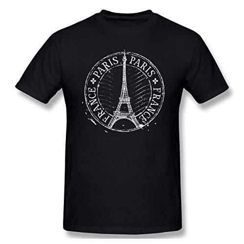Camiseta básica de Manga Corta con Cuello Redondo para Hombre de París-Torre Eiffel Tops sin Mangas de algodón
