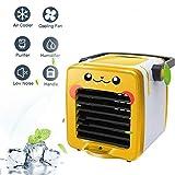 88AMZ - Mini aire acondicionado portátil portátil para Pokémon Pikachu 3 en 1, multifunción, USB, portátil, mini humidificador y purificador de aire LED, plateado