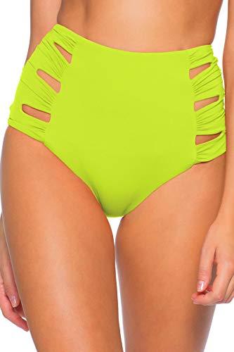 Soluna Swim Clear Skies Shirred Side High-Waist Bottoms Lime LG