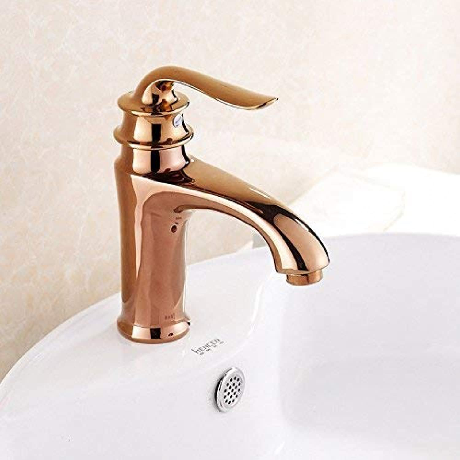 Kitchen tap Solid Brass Basin Mixer tap hot and Cold pink gold Kitchen Sink tap (color   -, Size   -)