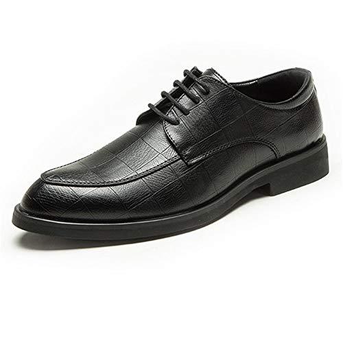 JUFENGYAO Business Oxford for Männer formales Kleid-Schuhe schnüren Sich Oben Mikrofaser Leder Classic Swank weicher Antirutsch Spitzschuh Plaid Impression Shoelaces (Farbe : Schwarz, Size : 43 EU)