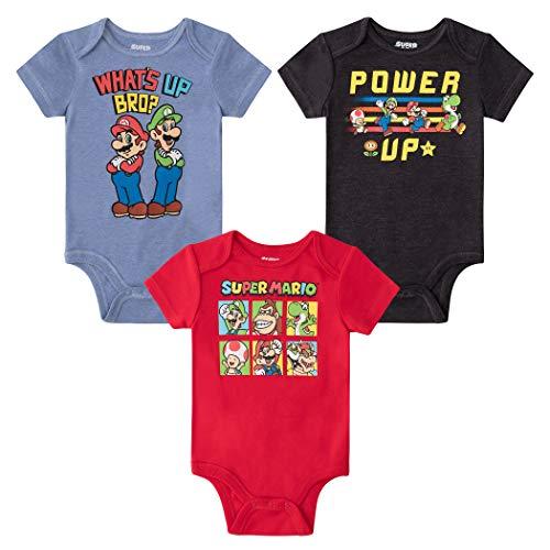 SUPER MARIO Nintendo Baby Boys 3 Pack Bodysuits Luigi Bowser Yoshi Toad 3-6 Months