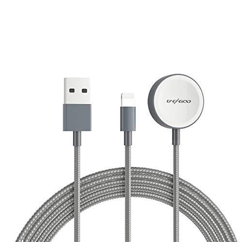 CACAGOO Ladekabel für Apple Watch, i Watch Ladekabel,2 in 1 Magnetisches Nylon Ladekabel für iWatch Series SE/6/5/4/3/2/1/ Phone se/ 11/Pro Max/XR/XS/X/8/7/6/Pad Air/Mini, 4.9ft/1.5M