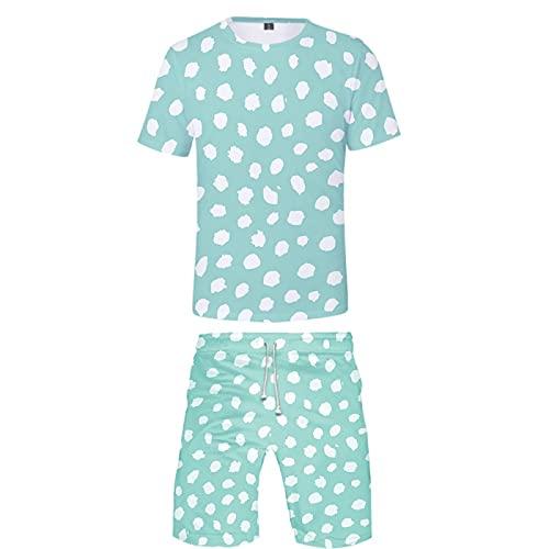Camisetas con Estampado 3D para Hombre Pantalones Cortos de Manga Corta y de Natación Bañadores Pantalones Cortos de Playa de Verano Pantalones Cortos(Azul 2,XXL)