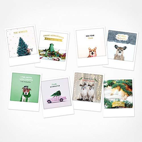 PICKMOTION Set 4 mit 8 Foto-Post-Karten Weihnachten, Instagram-Fotografen-Weihnachts-Karten, handgemachte Grußkarten, lustige Sprüche & Motive X-Mas, Christmas-Cards, BPK-0104