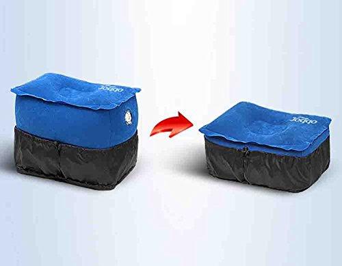 XIAOYA Upgrade Opblaasbare Travel Voet Rest Kussen Verstelbaar PVC Flocking Travel Voet Mat Rest benodigdheden Geschikt voor vliegtuigen, Auto's, Bussen, Treinen, Kantoor, Thuis, Camping, Blauw, M