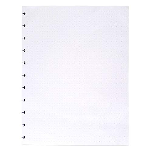 Letter Size 8.5 X 11 Dot Grid 120gsm Refill Paper For 11 Discs Discbound Notebook and Journal - Discette - White, 100 Sheets, 200 Pages