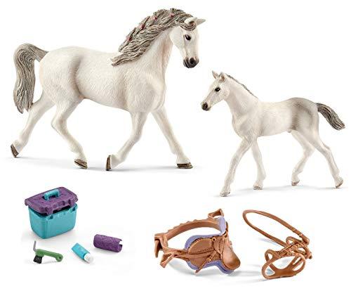 4in1-SET Schleich Pferde Horse Club - Holsteiner Stute mit Fohlen + Sattel Zaumzeug und Pflegeset 13858 + 13860 + 42165 + 42366