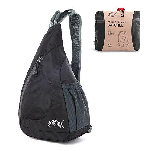 Zaino della spalla Packable, GSTEK leggero spalla pieghevole dello zaino del torace Crossbody Bag Pack per Uomo Donna sport esterni, ciclismo, trekking, campeggio, scuola - Nero