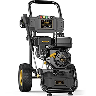 BLUBERY 3500PSI Gas Pressure Washer, 2.6GPM 212CC Power Washer, 50Ft Pressure Hose&Soap Tank, 5 Adjustable Nozzles, Cleaning for Driveway/Concrete/Vinyl Fencing, CARB Compliant