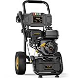 BLUBERY 3500PSI Gas Pressure Washer, 2.6GPM 212CC High Power Washer, 50Ft High Pressure Hose&Soap Tank, 5 Adjustable Nozzles, Cleaning for Driveway/Concrete/Vinyl Fencing , CARB Compliant